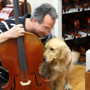 Helping with a cello