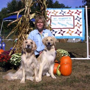 Annie, Lucy and Mom at Rally Obedience Trial